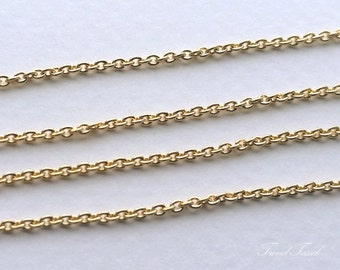 1 m - 1.4 x 1.8 Small Cable Basic Chain Supply, 16K Gold Plated Bass for DIY  jewellery, beading, necklace [C003-G]