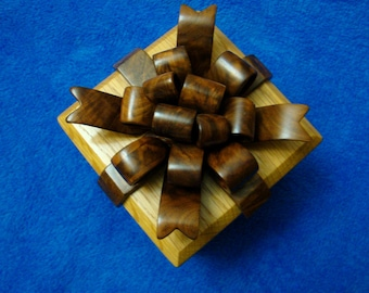 Handmade Bow Box for Jewelry or Keepsakes Oak Walnut