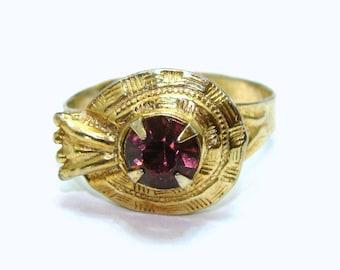 Vintage art deco ring-old purple ultra violet rhinestone jewelry