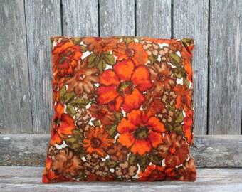 Bohemian / Boho / Retro Vintage Bright Orange Floral Throw Pillow