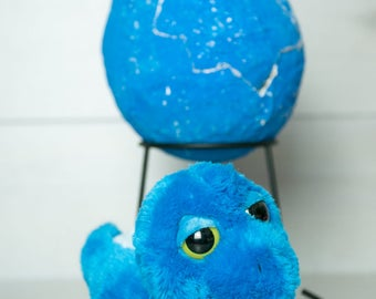 Medium Dinosaur Egg - Blue Stegosaurus