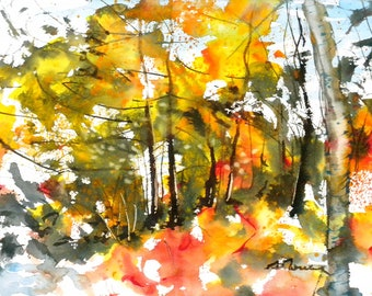 New England Fall-Scape No.18, limited edition of 50 fine art giclee prints from my original watercolor