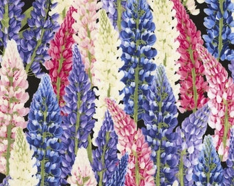 Lupine Black Floral Spring Flowers Timeless Treasures Fabric Yard