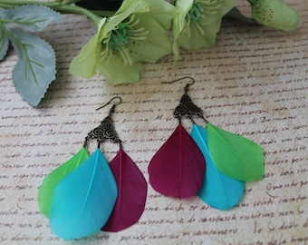 Feather earrings summer