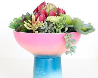 Gradient Succulent or Cactus Planter in Pink and Blue Ombre Pattern