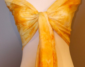 """Hand painted silk scarf  abstract yellow 14""""x72"""""""