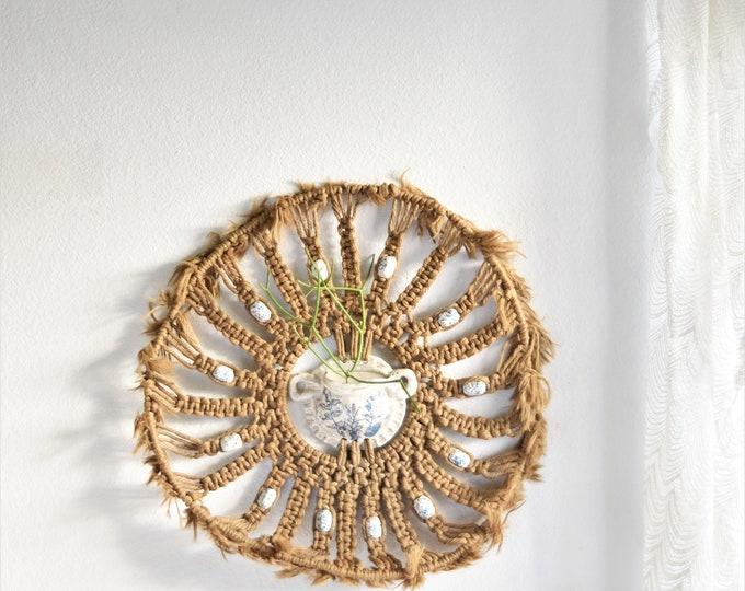 extra large fiber art stoneware wall hanging planter / wall pocket