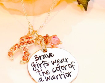 Hand Stamped Cancer Awareness Necklace-Breast Cancer Necklace-Cancer Necklace -Brave girls wear the color of a warrior
