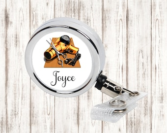 Hair Stylist Personalized Retractable Badge Reel, ID Holder