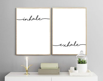 INHALE EXHALE PRINTABLES | Breathe Print, Yoga Print, minimalist art, namaste, meditation, yoga, scandinavian