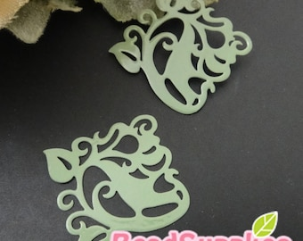 CH-ME-01910 - nickel free, Miitary green enameled, Filigree ivy, 4 pcs
