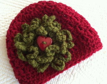 Red Crochet Baby Hat with Flower, Crochet Baby Hat, Newborn Hat, Baby Hat, Red Baby Hat, Hat with Flower, Baby Girl Hat, Christmas Hat