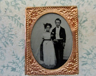 RARE antique miniature gem tintype photo - 1800s, young couple at formal affair, boy in tux with tails, brother, sister, gold floral frame
