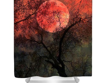 BLOOD MOON Surreal Full Moon Forest Original Photo Printed Shower Curtain Fantasy Surreal Midnight Tree Red Orange Black Gothic Decor