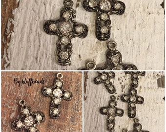 MOM SALE Italian Flea market Vintage Style rustic silver brown patina dangle drop Crosses Clear crystal Rhinestone encrusted 2 pcs