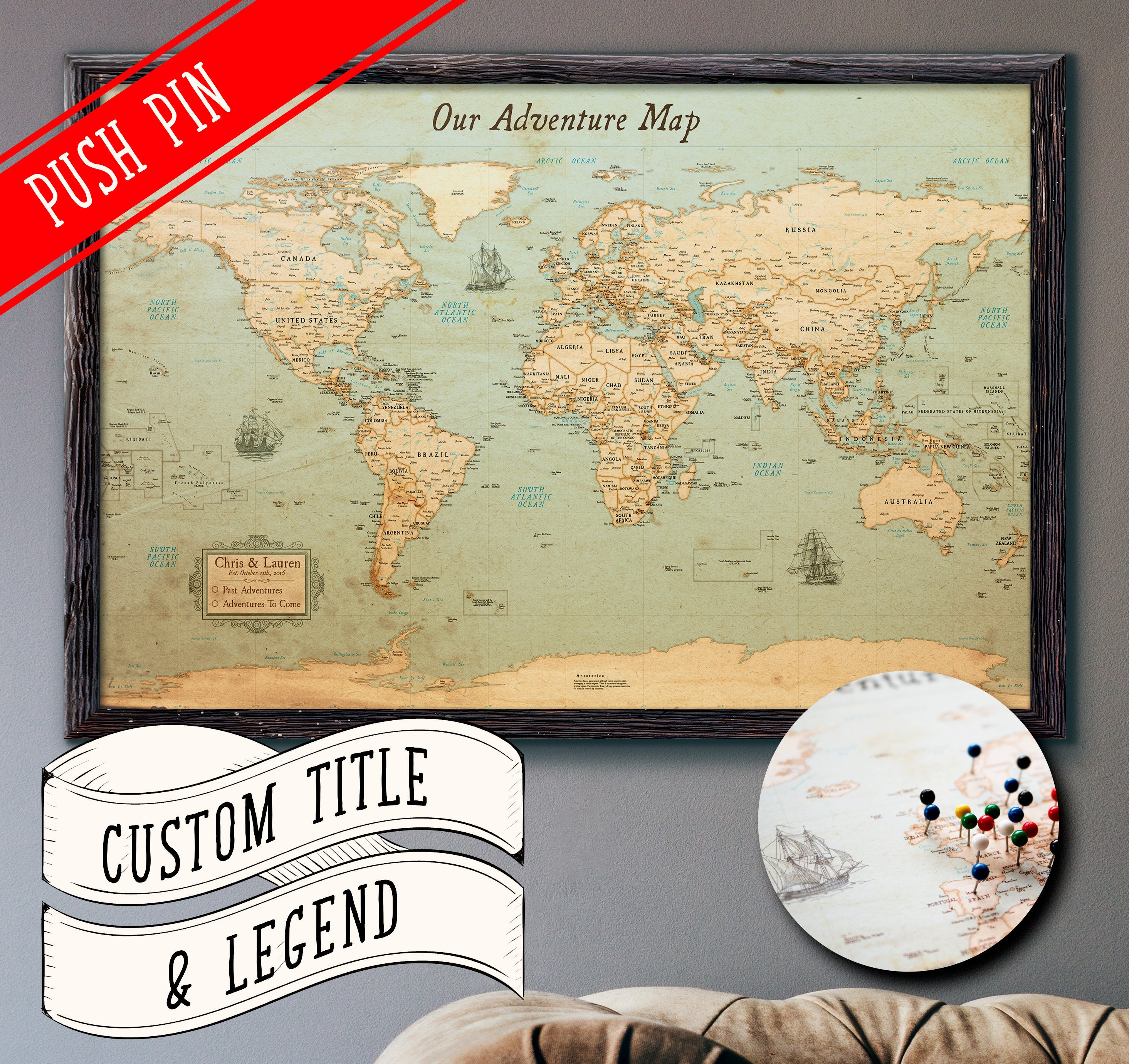 World map push pin rustic style 13x19 customizable pin zoom gumiabroncs Image collections