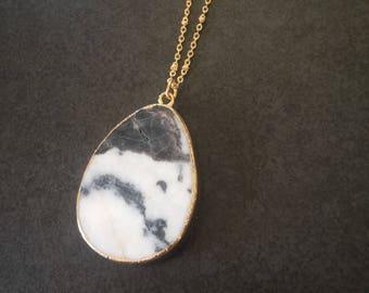 Raw stone white & black natural zebra stone druzy pendant necklace | natural stone pendant necklace | natural stone necklace | gemstone neck