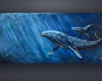 Whales / Everlasting Large Volumetric Acrylic Painting Spiritual Blue Ocean Loft