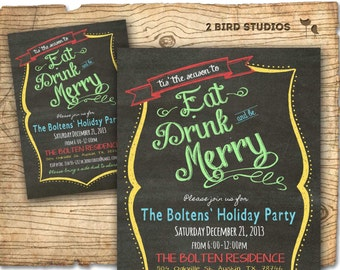 Christmas party invitation - Holiday party invitation - Adult holiday party invite - Eat Drink Be Merry Christmas party invite chalkboard