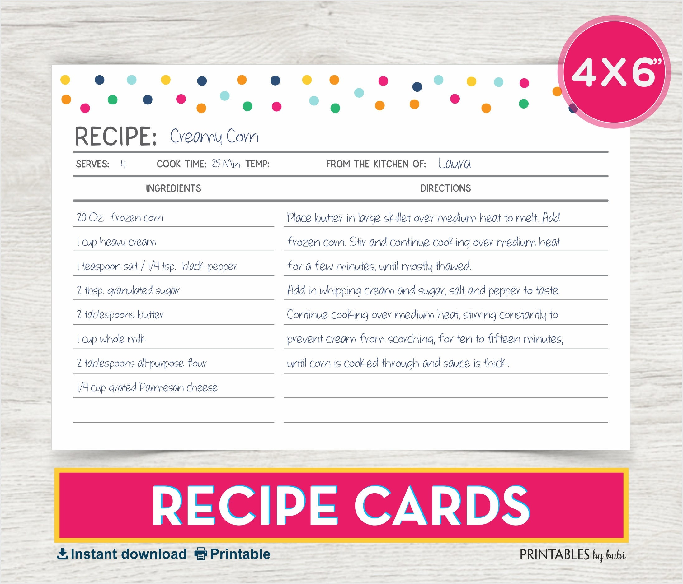 It's just a photo of Versatile Free Printable Recipe Cards 4x6