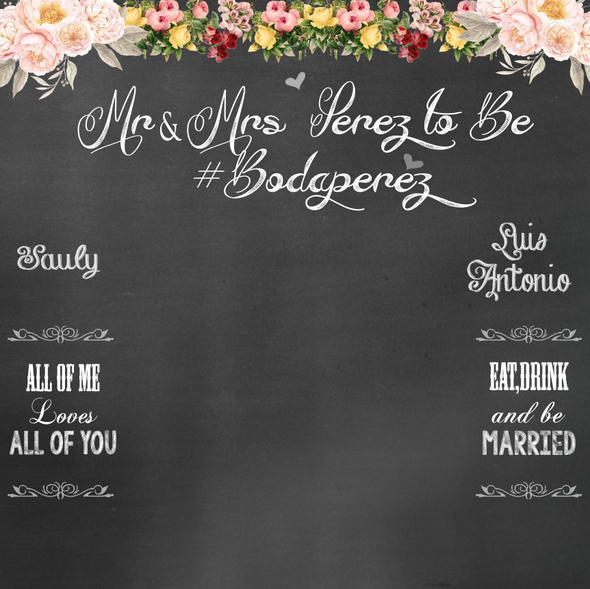 Chalkboard Backdrop Wedding Photo