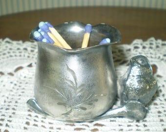 Vintage bird- Warren silverplate chick and wishbone figural toothpick holder- match holder- trinket holder- antique silver plate holder