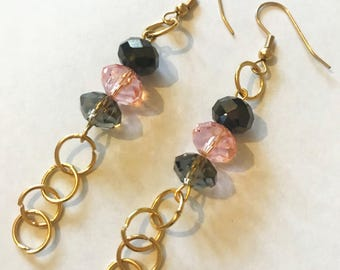 Unusual Glass Gold Plated Earrings