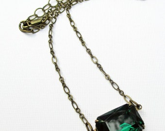Art Deco Necklace - Victorian Jewelry - Emerald Green Crystal Sideways Necklace - LANCASTER Emerald