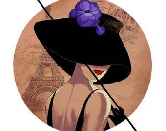 18mm, Black Hat, purple flower