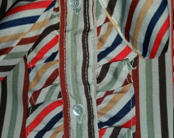 Multi colored stripe blouse w/ neck tie