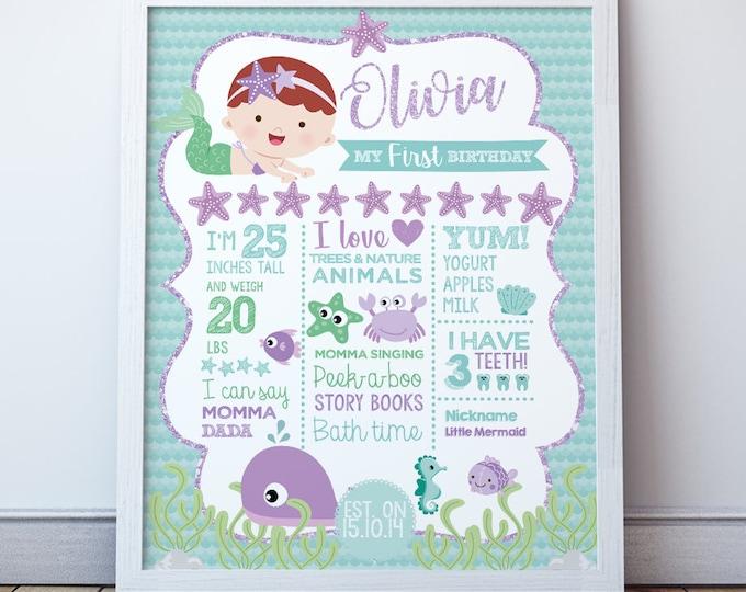 Mermaid 1st birthday poster, Mermaid printable poster, Milestone board, Digital, 2 Options