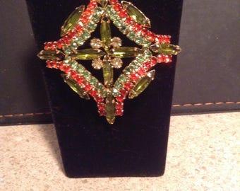 Vintage olive green and orange brooch