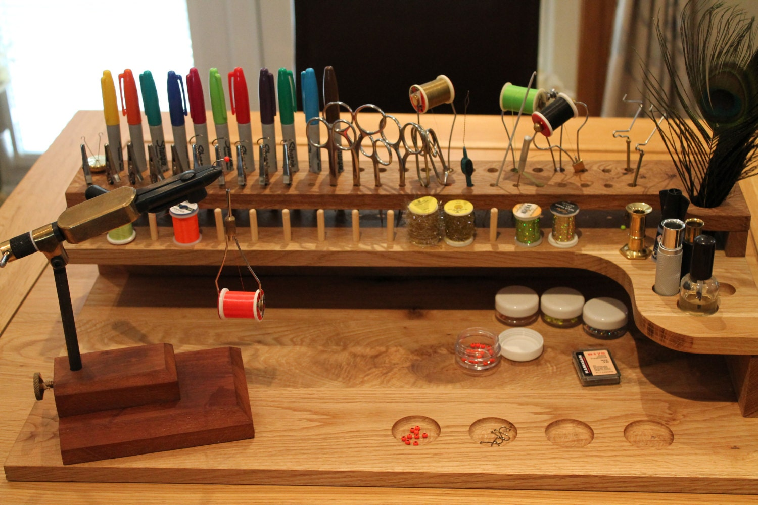 Fly Tying Bench Ideas Part - 25: Description. Solid Oak Fly Tying Station ...