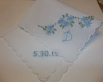 Personalized something blue wedding handkerchief, handoidered, bouquet wrap, bridal gift, wedding colors welcome