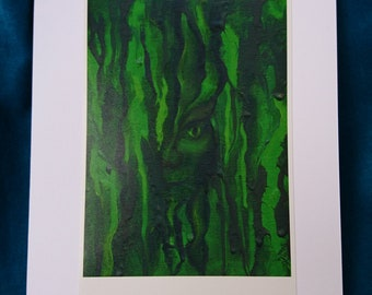 Green Man Card - Nature spirit painting, blank card, goblin, pixie, fantasy art, blank card, birthday card, faun, pan, tree, fae, face, ent