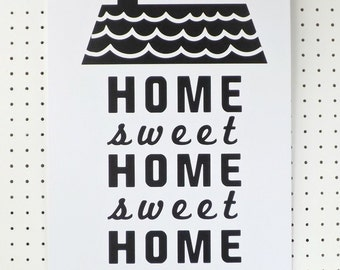 SALE House Black White Print New Home Typography Words Poster A3 Art Print