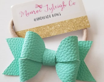 Windmill Faux leather clips / headbands / baby bows / toddler