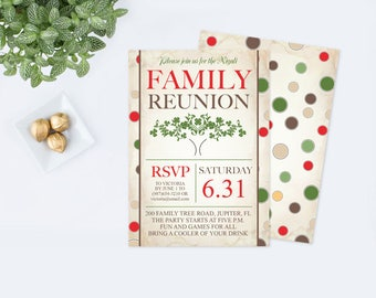 Printable Family Reunion Invitation, Editable PDF Template, BBQ, Family Picnic, Family Tree Party Invite, Family Summer Party, Block Party