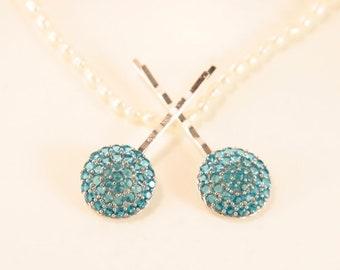 Swiss Blue Bobby Pins Wedding Blue Head Clips Gemstone Hair Accessory Birthstone Head Pins Bridal Something Blue CZ Headpins Hair Jewellery