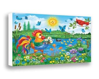 Canvas Nursery Art, Baby Room Wall Decor,  Rooster Illustration, Frog, Butterflies, Flowers, Ducklings, Cardinal Bird, Art for Children
