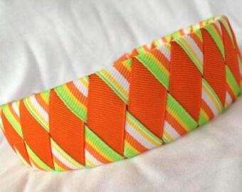 Ribbon Woven Headband, Bright Orange and Lime Green 2 inch Woven Headband, Hair Accessory