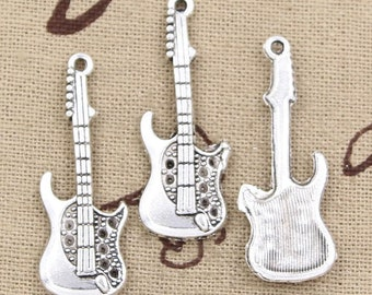 5 Electric Guitar Charm Pendant 36mm x 12mm -  - Jewelry Making