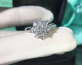 Snowflake Ring, Flower Engagement Ring, Winter Wedding Jewelry, Christmas Holiday Gift for her, 0.5 Ct Man Made Diamond Center Stone