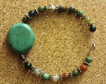 Turquoise and Agate bead bracelet