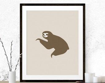 Sloth Art Print, Printable Art, Sloth Graphic Art, Beige Home Decor, Brown Sloth Art, Graphic Art Print, Animal Printable, Nursery Art Print
