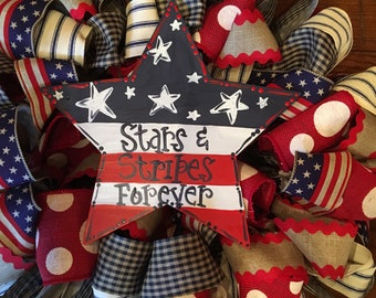 "26"" Red White and Blue Patriotic 4th of July Wreath with 12"" Star that is Handpainted"