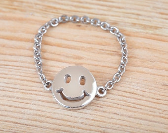 Smile Ring, Smile Face, Sterling Silver