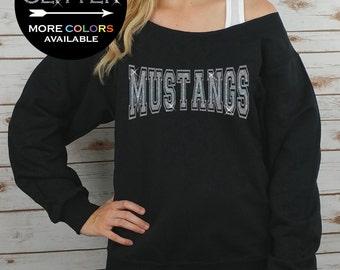 MUSTANGS Off Shoulder Raw Edge Sweatshirt for Women // GLITTER // Mascot Sweatshirt, Football Shirt, Sports Tee, Plus Sizes (Silver Glitter)