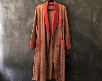 1940s Rayon Robe Smoking Jacket Duster Long Cardigan Double Breasted Mocha and Pink Trim OSFM