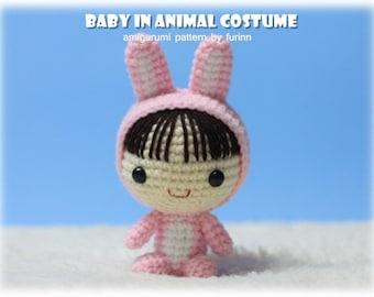 INSTANT DOWNLOAD Amigurumi Pattern Baby in Rabbit Costume/ Chinese Zodiac Rabbit